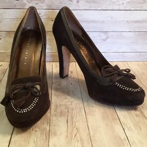 Martinez Valero Suede Tassel Loafer Pumps Sz 10